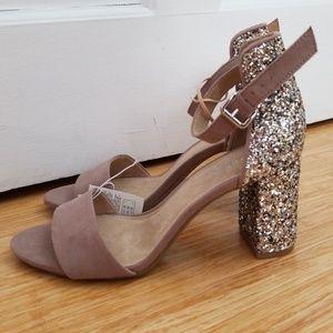 🆕️Glitter Block Heeled Sandals Muave Suede Straps
